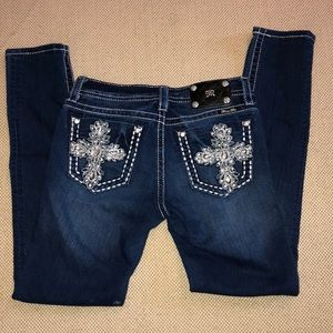Miss Me Jewel Embellished Dark Wash Skinny Jeans